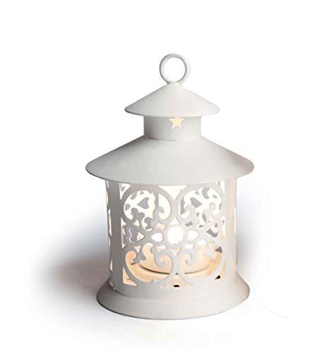 Excelsa Laterne in Form von Pagode, Metall, weiß, Metall, weiß, 9 x 13 cm