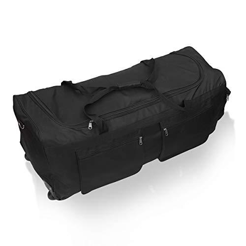 Borsa da viaggio morbida valigia sportiva XL 110 trolley grande con ruote. Nero