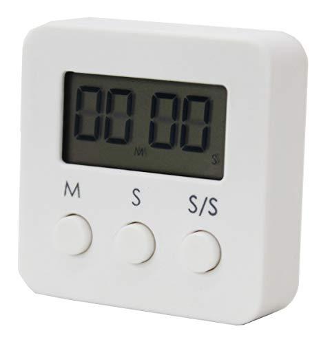アビー タイマー キッチンタイマー 使いやすく、小さいサイズはポケットに簡単に入れることができ、タイミングは静かで、最大タイミングは99分59秒です勉強、料理、スポーツ、美容に適しています (ホワイト)