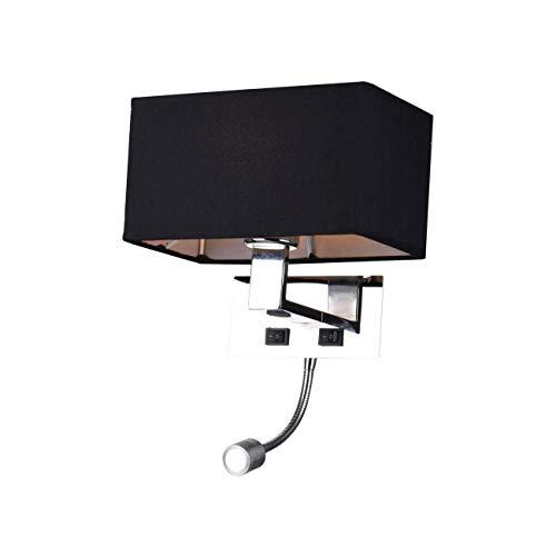 KOSILUM - Applique murale liseuse Noire- métal/tissu Adonis - Lumière Blanc Chaud Eclairage Salon Chambre Cuisine Couloir - 1 x 40 W - - E27 - IP20