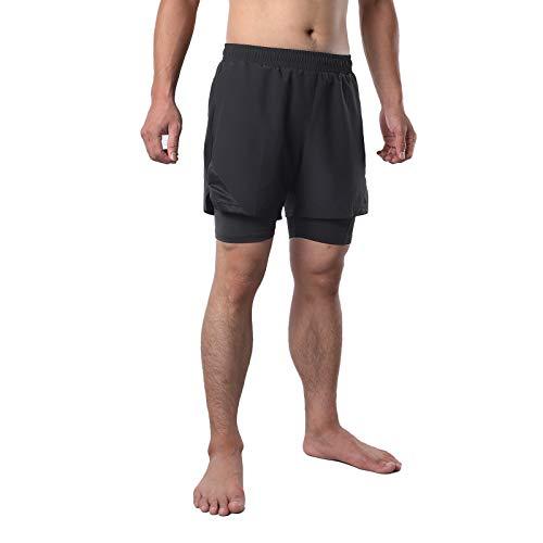 Pantalones Cortos para Correr 2 en 1 para Hombre,Maratón de Un Tercio de Shorts Transpirables de Secado Rápido Deportivos de Entrenamiento de Gimnasio MTB Ciclismo Pantalones C(Size:XXL,Color:Negro)