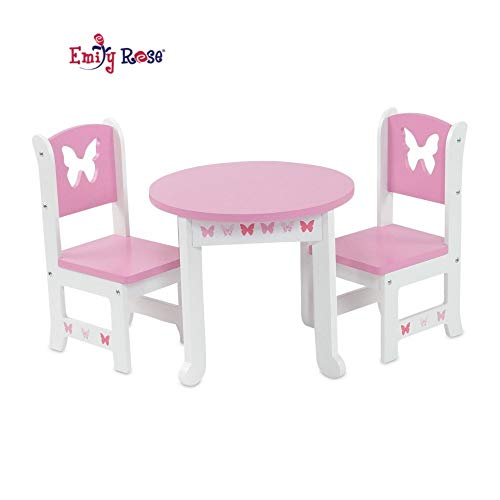 Emily Rose 18 Inch Doll Furniture for American Girl Dolls | Doll Accessories 18' Doll Table and 2 Chair Kitchen Dining Set | Fits Journey Girls and American Girl Dolls