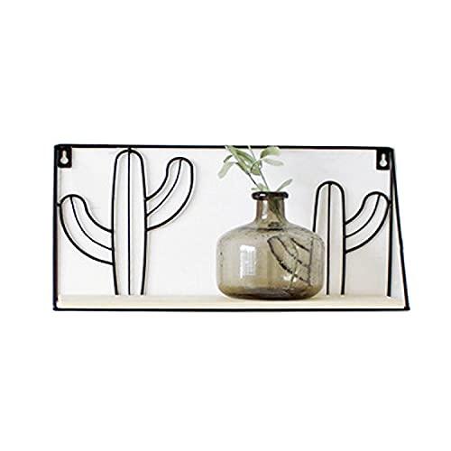 BoBoU Estantería de pared con forma de cactus hecha a mano, de alambre de metal y madera, fácil montaje en pared con o sin agujeros (diseño en forma de cacteo)
