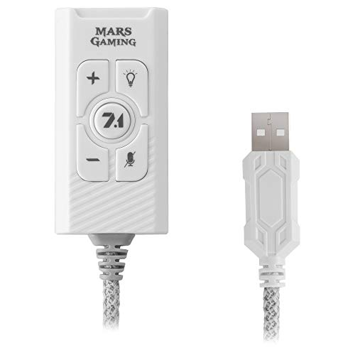 Mars Gaming MSC2W Blanco, Tarjeta Sonido Externa USB 7.1, PS5  PS4  PC MAC SWITCH