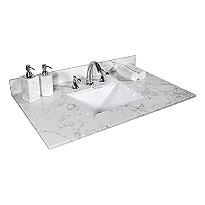 Pannow 31 Inch Vanity Top Stone Carrara White Tops with Undercounter Rectangular Ceramic Bathroom Sink and Back Splash for Bathroom Cabinet Natrual Marble Stone 8 Inch Faucet Holes (31x22inch)
