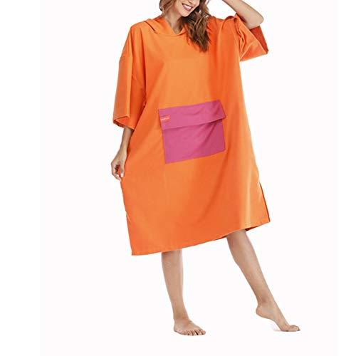 YCcloth Bademantel, Bademantel mit Tasche, Surf-Poncho-Handtuch für Kinder/Jugendliche/Erwachsene, Orange/Blau/Grau