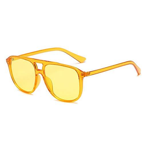 OcchialidaSoledaUomo Occhiali da Sole Quadrati Vintage Donna Uomo Montatura in Acetato Occhiali da Sole Retro Shades Uv400 Arancione-Giallo