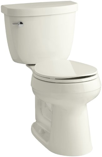 KOHLER K-3887-96 Cimarron Comfort Height Two-Piece Round-Front 1.6 GPF Toilet with AquaPiston Flush Technology and Left-Hand Trip Lever, Biscuit