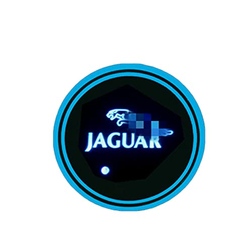 for Jaguar Car Led Cup Holder Lights Led Car Coasters 7 Colors Luminescent Cup Mat for Drink Coaster Accessories Interior Decoration Atmosphere Light