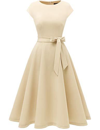 DRESSTELLS Damen elegant 50er Jahre Vintage Kleid Retro Cocktailkleid Rundausschnitt Abendkleid kurz Champagne L