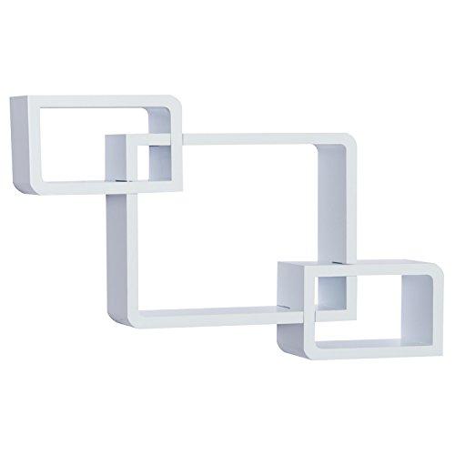 HOMCOM Wandregal Würfelregal Cube Regal mit 3 Fächern MDF Weiß