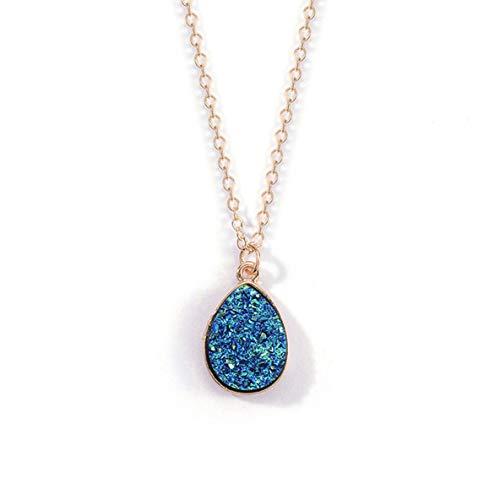 Rouku CollierCharm Drop Shape Stone Collares y Colgantes para Mujeres Crystal Bud Collar Joyería de Moda Kolye Collares