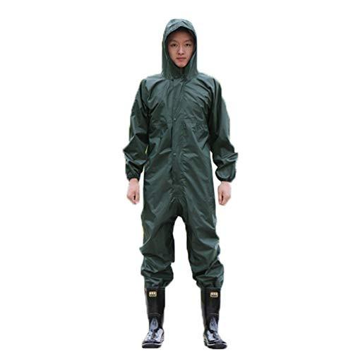 Guiran Herren wasserdichte Overalls mit Kapuze Regen Overalls Arbeitskleidung Regenmantel Sicherheit Anzüge Armeegrün 4XL