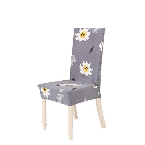 Fundas para sillas Flores Gris Claro Spandex Fundas sillas Comedor Lavable Extraíble Funda Muy fácil de Limpiar Duradera Modern Bouquet de la Boda Hotel Decor Restaurante 8/Piezas