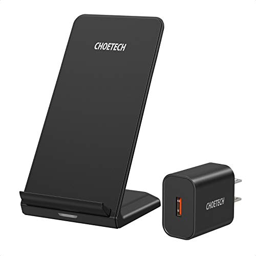 CHOETECH Wireless Charger, Qi-Certified 10W Max Fast Wireless Charging Stand (with AC Adapter) Compatible iPhone SE2020/11/11 Pro Max/XS Max/XR/XS/X/8 Plus, Galaxy Note 10/S20/S20+/S10/S10 Plus/S10E