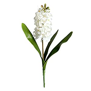 Superper 3D Hyacinth Narcissus Plastic Artificial Flower Fake Plants and Greenery Potted DIY Crafts Floral Decor White