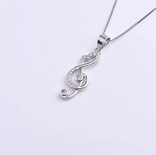 Gbrand Collares de Notas Musicales Grandes de Cristal de Plata de Ley 925 para Mujer, Cadena de Colgantes, Regalo de joyería