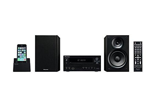 Pioneer X-HM32V Hifi-Micro-System (DVD/CD-Player, Lautsprecher, Bluetooth, Radio, USB 2.0, MP3, 2 x 30 Watt, App für Apple iOS und Android), Kompaktanlage mit Aluminium Front, Schwarz