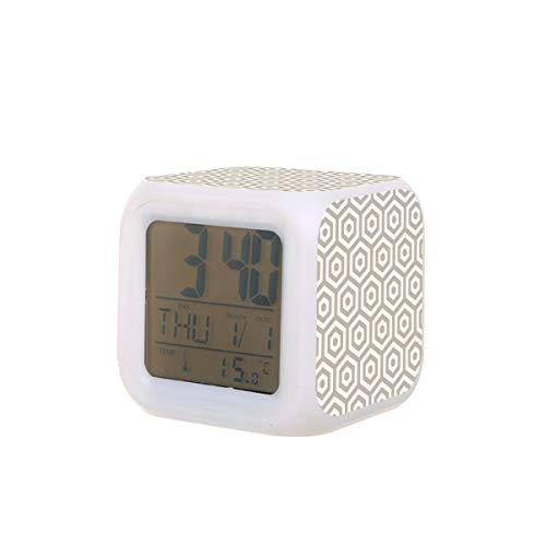 Hexágono repetir reloj despertador eléctrico luz nocturna temporizador sueño máquina de sonido detección de temperatura con 7 colores de luces