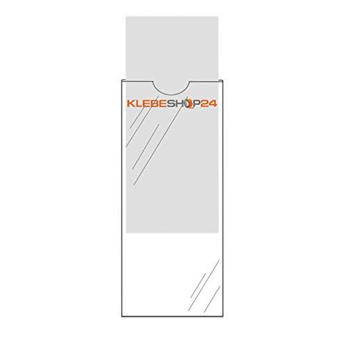 Klebeshop24 ORDNERRÜCKEN TASCHEN SELBSTKLEBEND | Transparent | 20 oder 100 Stück | Größe wählbar | Rückenschildtaschen | Selbstklebende Taschen für Ordneretiketten / 30 x 130 mm, 20 Stück