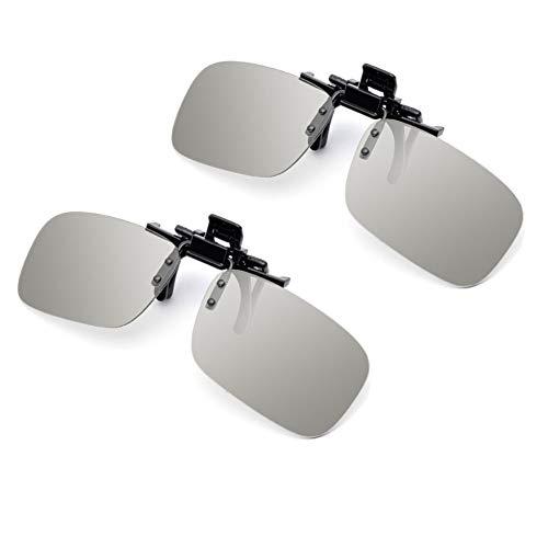 ShipeeKin 2X Passive 3D Brillen Clips, 3D Brillen für Brillenträger kompatible mit Aller RealD 3D Kinos (Zwei quadratische 3D-Polarisationsbrillen inklusiv)