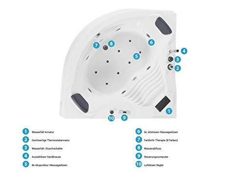 Whirlpool Badewanne St. Tropez mit 14 Massage Düsen + Heizung + Ozon Desinfektion + LED Unterwasser Beleuchtung / Licht + Wasserfall + Radio – Sprudelbad Hot Tub indoor / innen günstig - 5