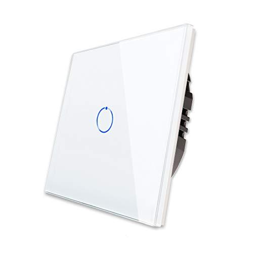 CNBINGO Touch-Lichtschalter, Weiß Single-Wechselschalter, mit Touch-System Glas Panel und Status-LED, Neutralleiter Wird Nicht Benötigt, 1-Fach, AC 240 V, 800 W/Fach
