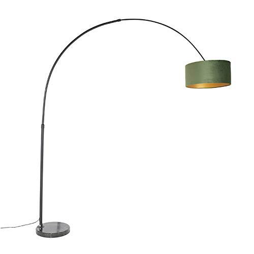 QAZQA Modern Bogenlampe schwarzer Veloursschirm grün mit Gold/Messing 50 cm - XXL/Innenbeleuchtung/Wohnzimmerlampe/Schlafzimmer Stahl/Marmor/Textil Länglich/Zylinder/Rund LED geeignet E27