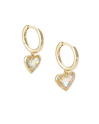 Kendra Scott Ari Heart Huggie Earrings in Gold Iridescent Dichroic Glass