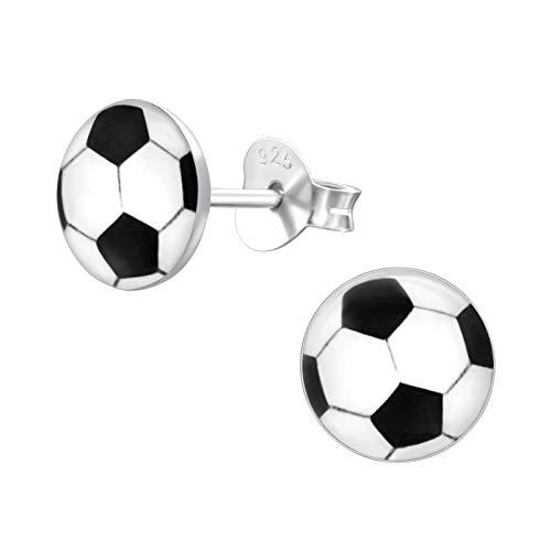 Bungsa FUSSBALL Kinder-Ohrstecker Silber 925 - niedliches Ohrringe SET mit Fußball - für Jungen, Mädchen & Kinder - Ohrringe zum Stecken aus Sterling Echtsilber - Fussball Ohrschmuck für Kinder