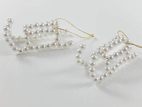 2 Perlenschlitten Schlitten Baumanhänger Weihnachtsbaumanhänger Christbaumanhänger
