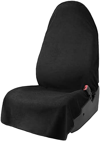 Leader Accessories Black Waterproof Sweat Towel Car Front Seat Cover for Truck SUV Bucket Seat Dog & Kid Non-Slip Auto Protector