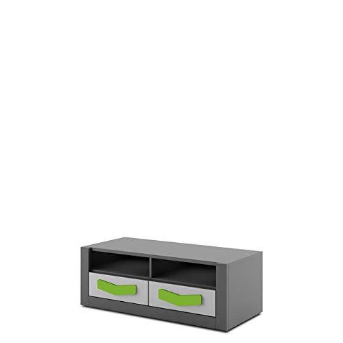 Mirjan24 TV-Lowboard Bumerang BR18 mit 2 Schubladen, Fernsehtisch, TV Tisch, Fernsehschrank, Schrank, TV-Bank, Board (Graphit/Grau + Grün)