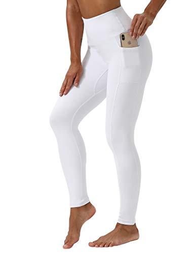 KUTAPU Workout Leggings for Women High Waisted 7/8 Length Soft Yoga Pants with Pockets White XL