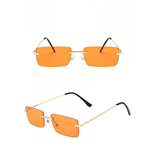 SXRAI Gafas de Sol cuadradas de Moda para Mujeres pequeñas, sin Montura, Gafas de Sol, Gafas de Sol de Metal, Gafas Uv400,C5