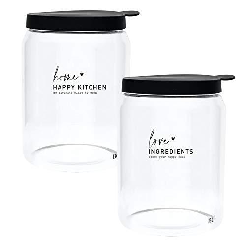 Set di barattoli in vetro Home Happy Kitchen My Favorite Place to cook & Love Ingrets Store your happy food con coperchio in silicone, 2 pezzi, diversi motivi