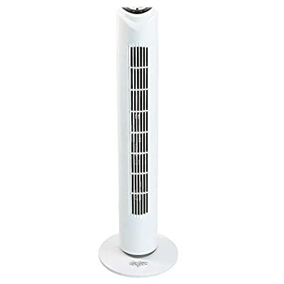 Stirflow STF1R White Remote Controlled Tower Floor Fan | 75 Degree Angle Oscillation Action | 3 Speed Settings | Car Air Freshener Promo