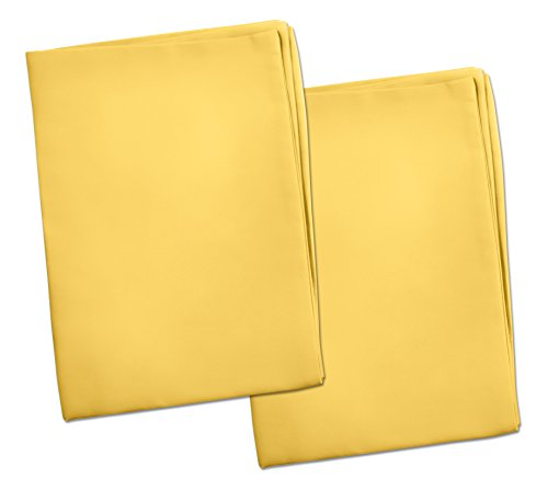 2 Yellow Toddler Pillowcases - Envelope Style - for Pillows Sized 13x18 and 14x19-100% Cotton with Soft Sateen Weave - Machine Washable - ZadisonJaxx Bellacolour Collection - 2 Pack