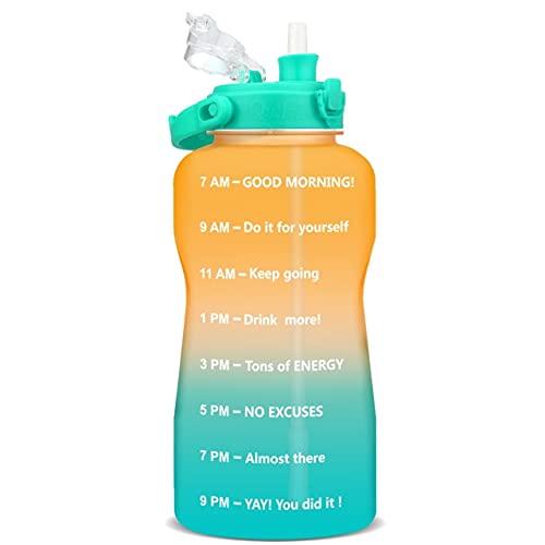 Botellas de agua de 3,8 y 2 litros con marcas de tiempo, jarras reutilizables sin BPA con pajita para gimnasio, al aire libre y camping, 1 clic abierto con cerradura