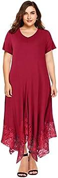 AMZ PLUS Womens Lace Casual V Neck Hem High Low Swing Dresses