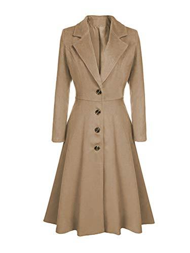 Minetom Damen Wollmantel Winter Mantel Trenchcoat Warm Schlank Windmantel Outwear Elegant Übergangsmantel Knopfleiste Lange Jacke Aprikose 34