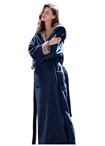 FGDSA Señoras con Capucha Bata,Suave Compuesto del Traje del Terciopelo para Las Mujeres Bata Loungewear Albornoz Camisón(Sin Pantalones cómodos (Color: Azul, Tamaño: Mediano)