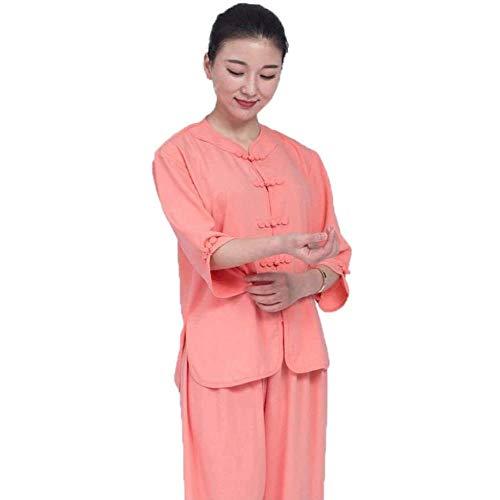 JINFAN Vêtements De Tai Chi Vêtements De Pratique Féminine Uniforme De Kung-fu Costume De Méditation Zen en Coton Et Lin,Orange-L