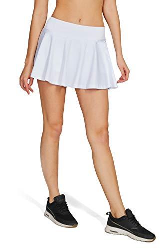 Westkun Damen Tennisrock Skirt Minirock Sport Fitness Yoga Skort(Weiß,S)