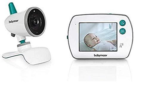 Babymoov YOO Feel Vigilabebé con Cámara - Pantalla LCD Táctil de 3.5' - Visión Nocturna - Lamparita y Nanas - Alcance 250 m - Seguridad Bebe
