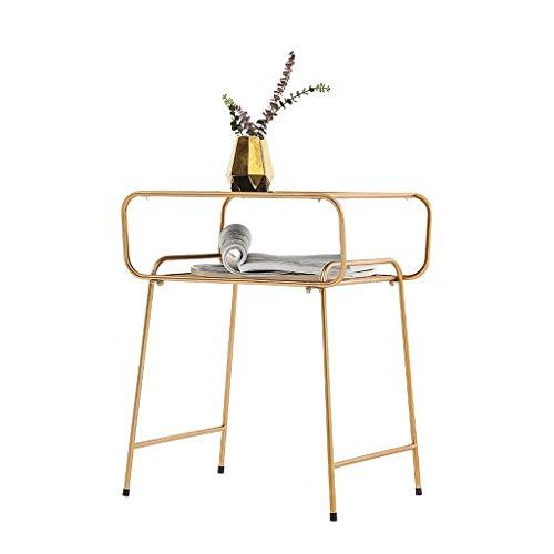 Nightstand/Small Tables Modern Minimalist Wohnzimmer Beistelltisch Magazin Regal Schmiedeeisen Nachttisch Aufbewahrungsschrank Gehärtetes Glas Metallrahmen Höhe 60 cm Accent Tables ( Color : Gold )