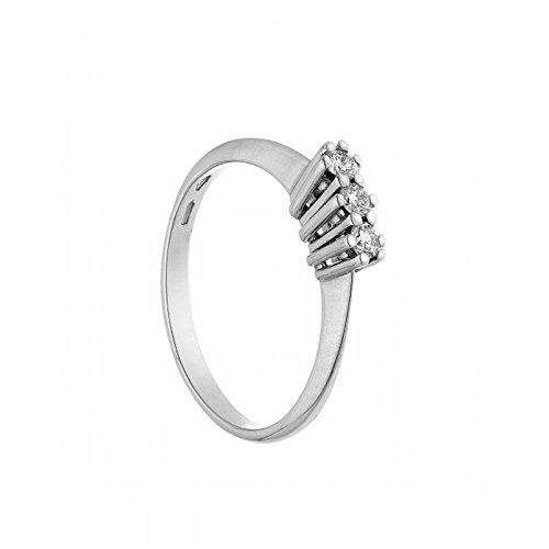 anello trilogy in oro bianco 18 kt diamanti 0,065 taglio brillante colore g taglio eccellent misura 14