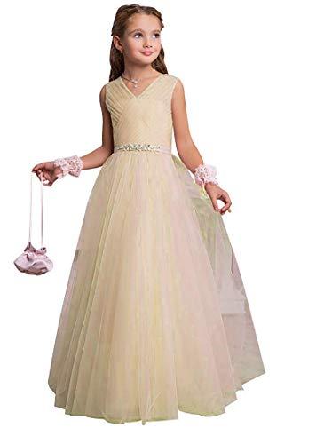 Aurora dresses Mädchen V-Ausschnitt Blumenmädchenkleid Lang Hochzeit Fest Mädchen Kleid mit Strass Bunch Kinderkleid Partykleid Kommunionkleid(Champagner,10-11 Jahre)