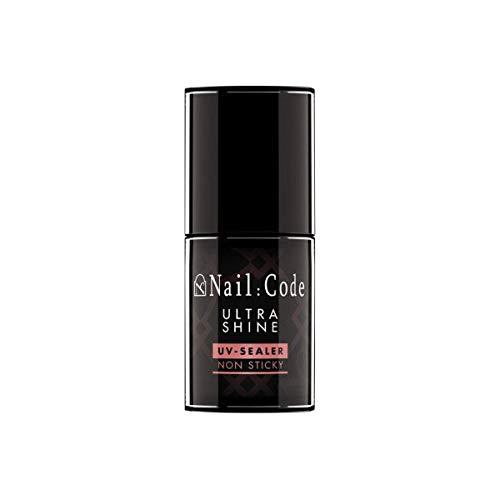 Nail:Code No Wipe UV Top-Coat Nagellack Glanzgel ohne Schwitzschicht in der hochwertigen Pinselflasche - hochflexibles Versiegelungsgel in der Pinselflasche (Hochglanz)