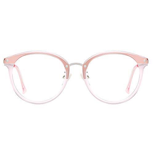 SOJOS Rund Groß Brille mit Blaulichtfilter ohne Sehstärke Anti-Blaulicht Gläser Brille SJ9001 Ashley mit Rosa Rahmen/Anti-Blue Light Linse